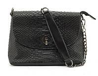Маленькая стильная кожаная женская сумочка с тиснением под рептилию GALANTY art. 1030 черная, фото 1