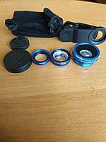 Универсальный набор объективов линз для телефона 3 в 1 Fisheye Macro Wide Фишай Рыбий глаз и Макро съемка