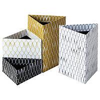 Набор коробочек для карандашей IKEA LANKMOJ 4 шт белый черный желтый 504.022.69