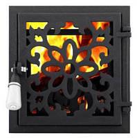 Дверца для печи и барбекю Цветок топочный, печная дверца со стеклом