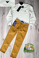 Стильный праздничный комплект белая рубашка и горчичные брюки, фото 1