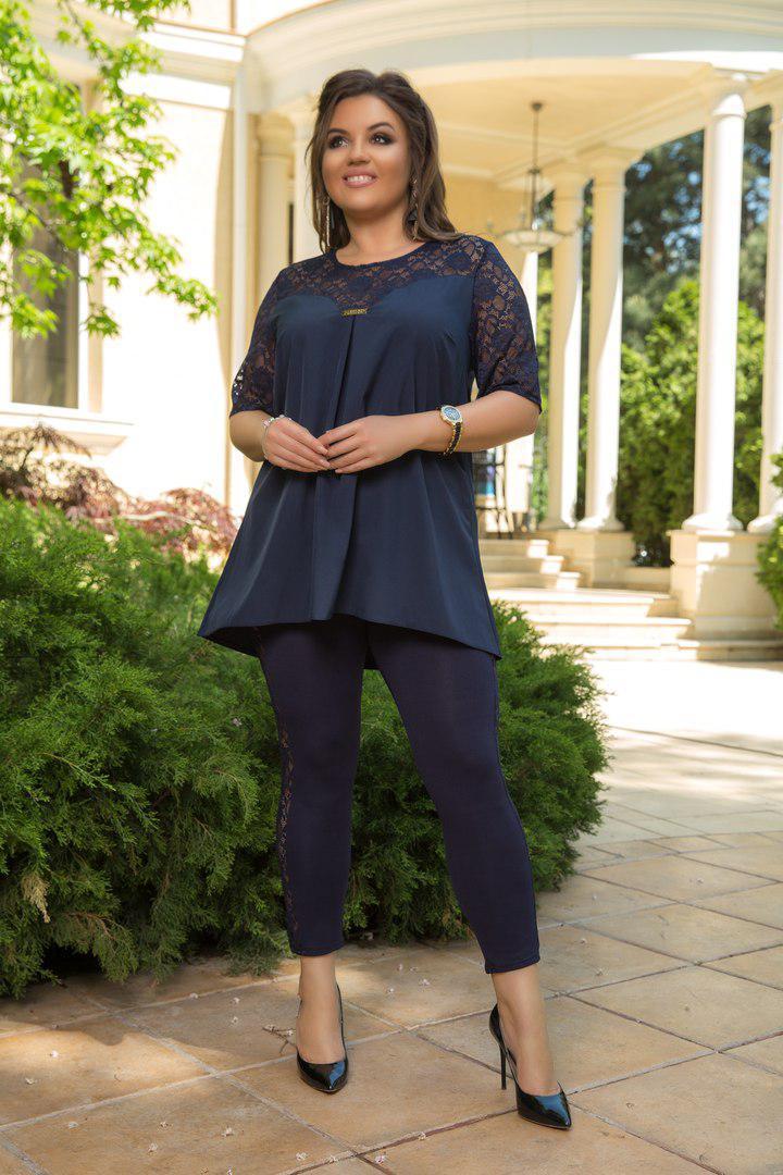 96e709bf0c708db Размеры 48- Женский летний костюм больших размеров. Туника с гипюровыми  вставками и лосины.