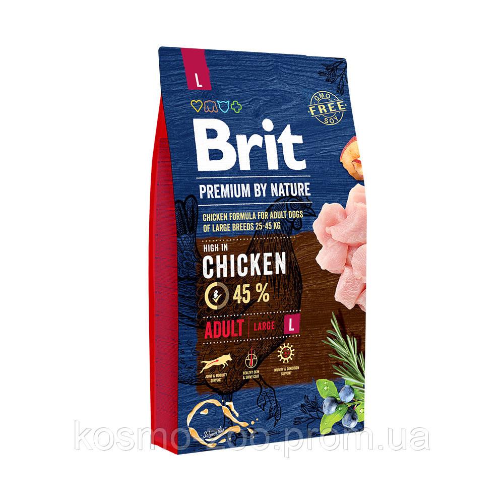 Сухой корм Брит Премиум для собак крупных пород (Brit Premium by Nature Adult L) с курицей, 15 кг