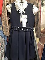 Синий нарядный сарафан для девочки, рост 128-146 см., 410/370 (цена за 1 шт. + 40 гр.)