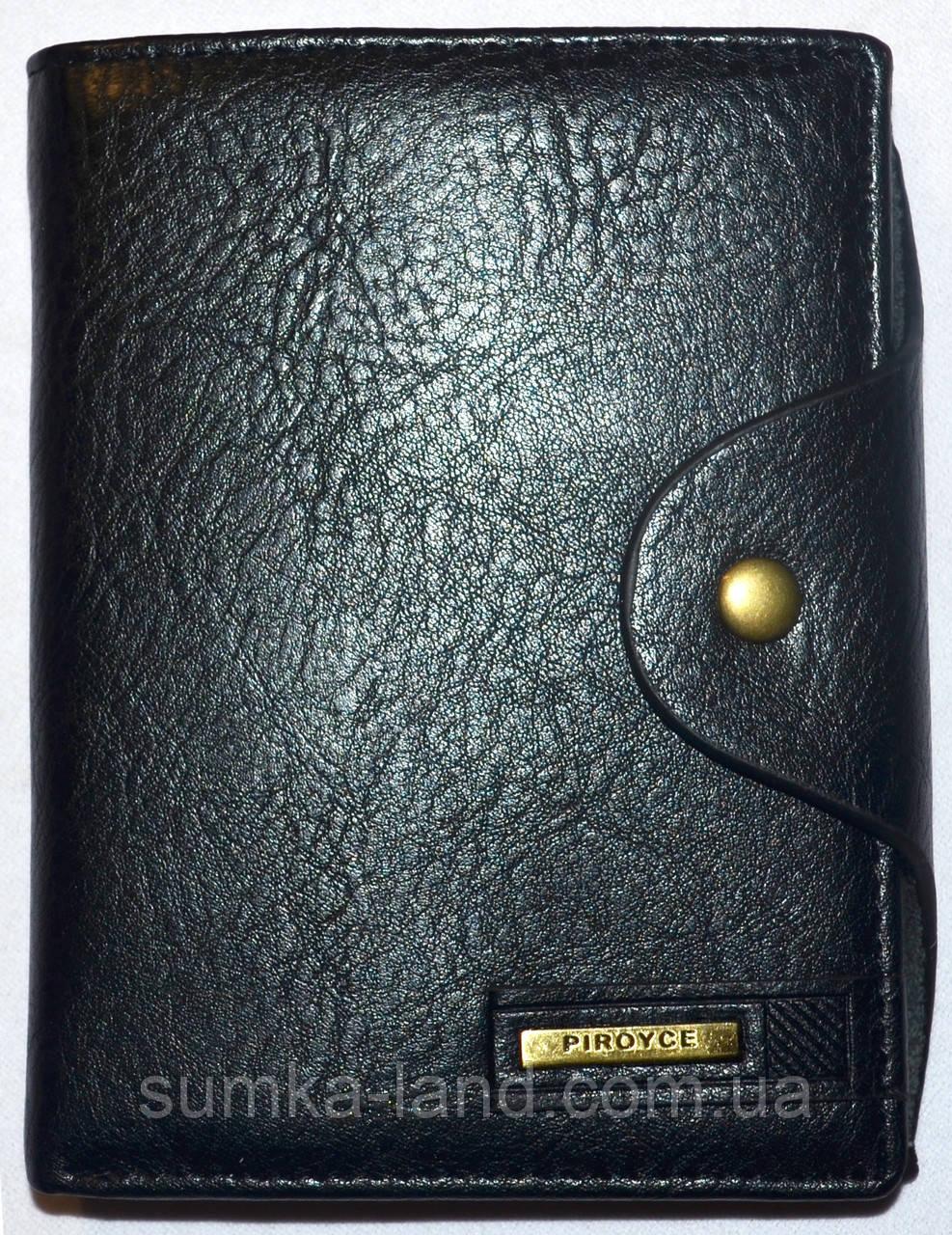 Мужской черный кошелек Piroyce из искусственной кожи на кнопке размер 10*13,5 см