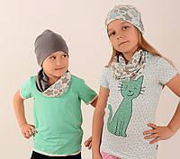 Шапочка з хомутом для дівчаток в зірочки двостороння 5c6a40b194a8d