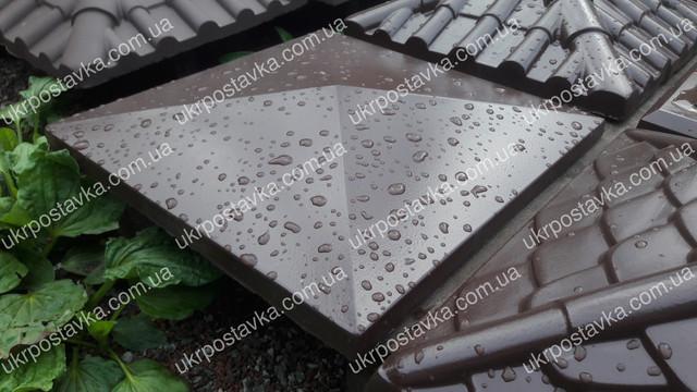 Крышка для забора LAND BRICK Европа коричневая 450х450 мм