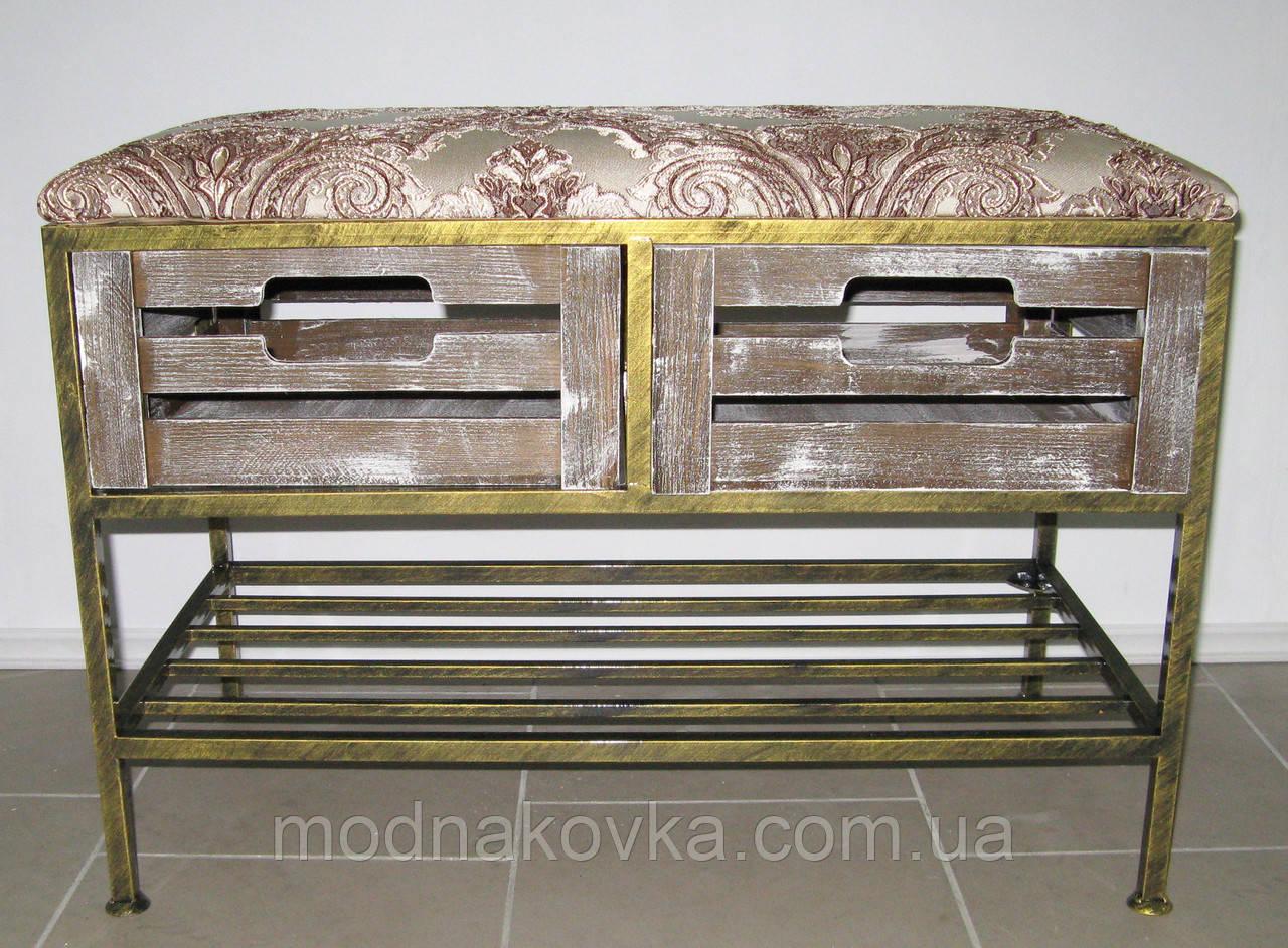 Диван-тумба кованый на 2 ящика и полку с мягким сиденьем