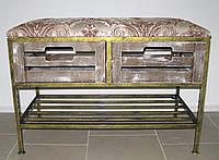 Диван-тумба кованый на 2 ящика и полку с мягким сиденьем , фото 1