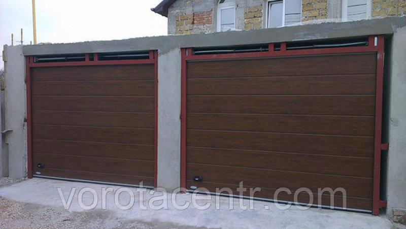 Ворота гаражні секційні Дорхан, RSD01SС-UA №3, 2500х2530, темний дуб