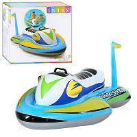 Детский надувной скутер плотик с ручкой держателем Intex 57520: размер 117х77см