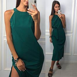 Женское ровное платье миди зелёного цвета