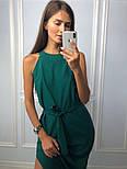 Женское ровное платье миди зелёного цвета, фото 2