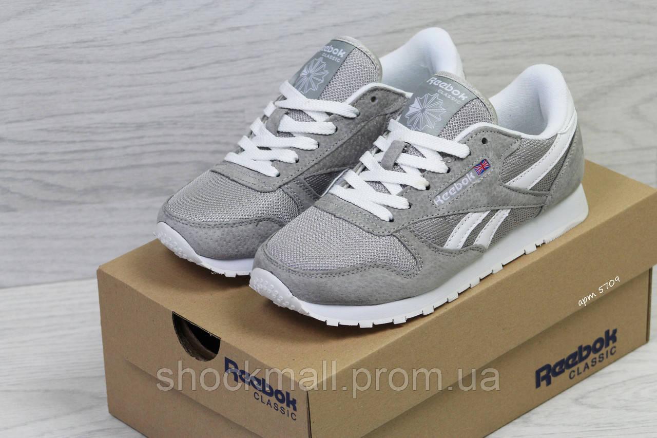 Купить Подростковые кроссовки Reebok замша серые Вьетнам реплика недорого 2116435927811