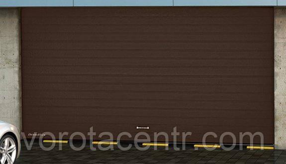 Ворота гаражные секционные Дорхан коричневые