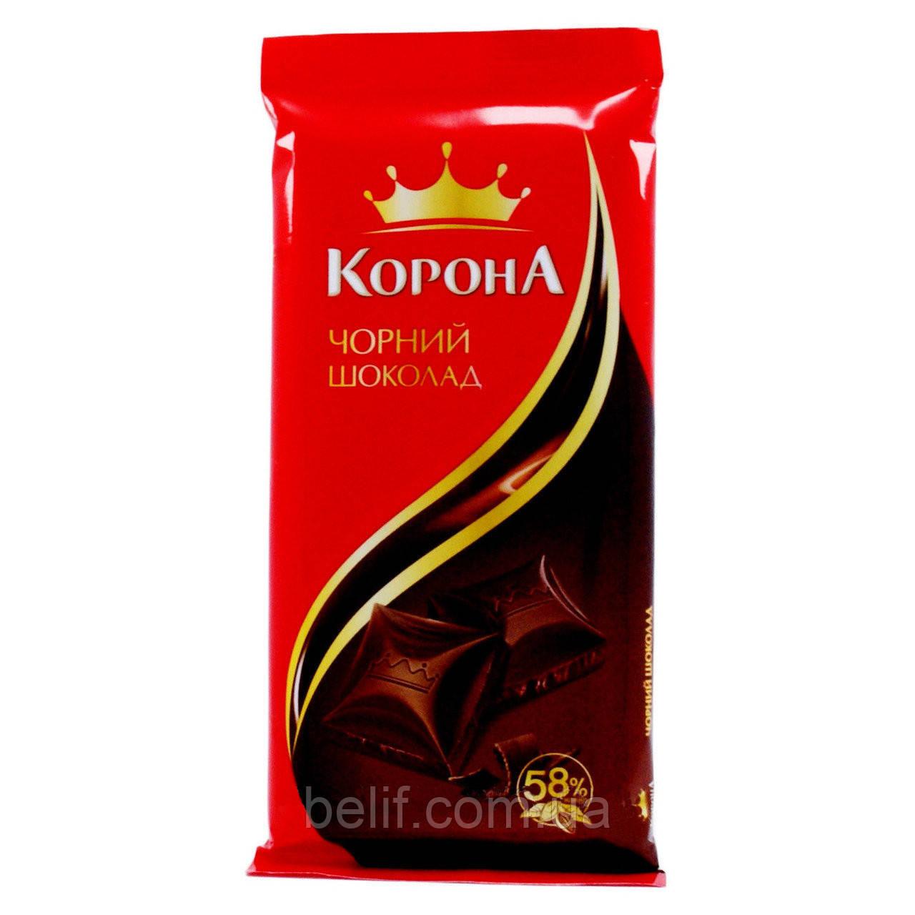 Плитка шоколадная КОРОНА черный, 90 гр. (28 шт/уп)