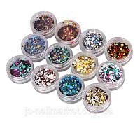 Декор для ногтей конфетти (камифубуки) в банке цвет в ассортименте