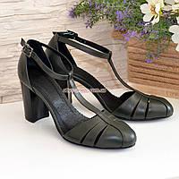 Босоножки женские кожаные на высоком устойчивом каблуке