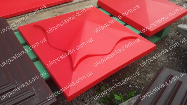 Крышка для забора LAND BRICK медуза красная 450х450 мм