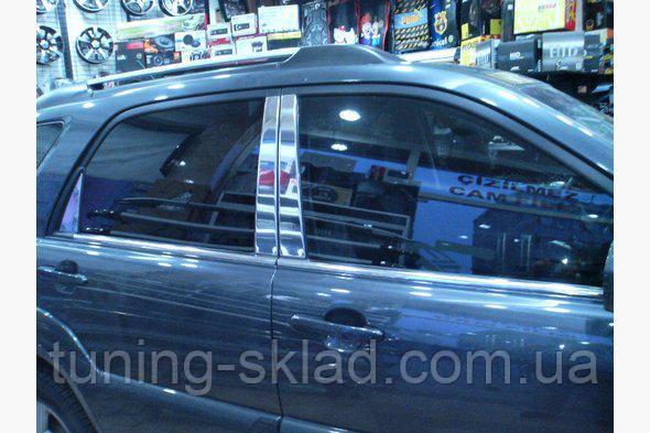 Хром накладки на стойки (6 шт, нерж)  Kia Sportage 2004-2010 (Киа Спортейдж)