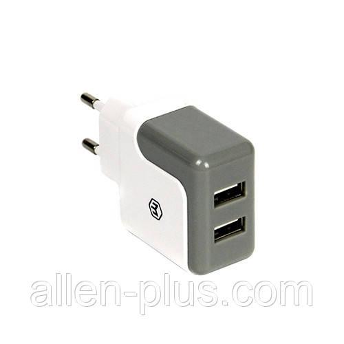 Адаптер питания (USB зарядка) HAVIT HV-UC309, white/grey, 2.1А (Реальных 2.4 Ампера!)