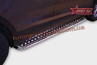 Пороги с листом d42 Союз 96 на Hyundai Santa Fe 2013