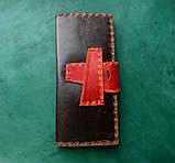 Тревел-кейс кожаный для смартфона карточек банка документов, фото 3