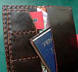 Тревел-кейс кожаный для смартфона карточек банка документов, фото 5
