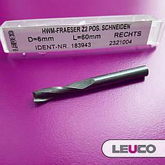 6х22х60х6 Z=2 Спіральна фреза Leuco для чистової обробки