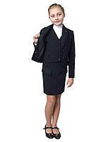 """Пиджак школьный для девочки черный с отделкой м-958 рост 128 и 152 тм """"Попелюшка"""", фото 1"""