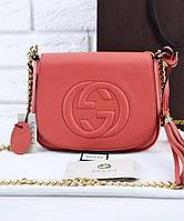 Женская сумка в стиле Gucci Soho Chain Shoulder Coral Bag (3360), фото 1