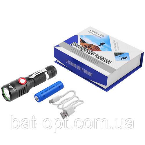 Фонарь ручной Small Sun 729 XML-L2, 1х18650, ЗУ micro USB, зажим, комплект