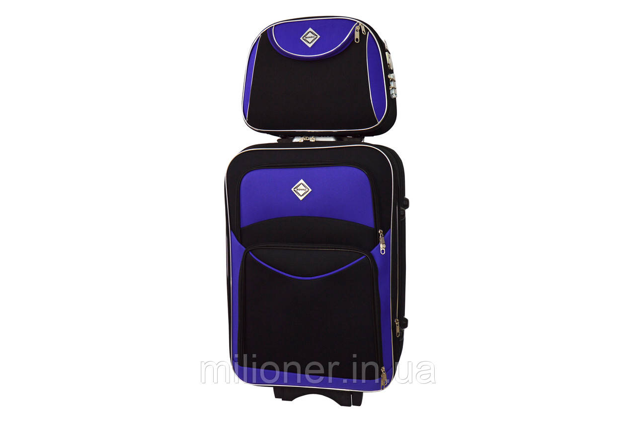 Комплект чемодан + кейс Bonro Style (небольшой) черно-фиолетовый