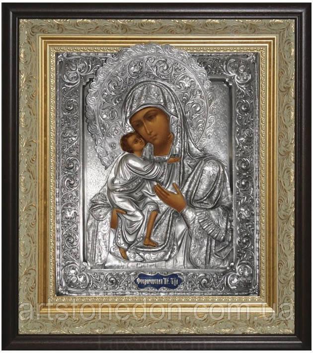 Икона с посеребрением и позолотой Богоматерь Фёодоровская