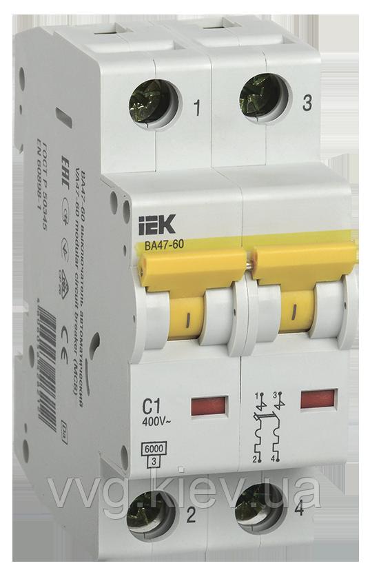 Автоматический выключатель ВА 47-60 2Р 3А 6 кА С IEК