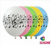 """Воздушные шарики """"Нотки""""  шелкография 12"""" (30 см)  ТМ Show"""