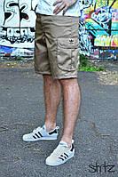 Легкие светлые мужские шорты/бриджи карго с карманами адидас (Adidas)