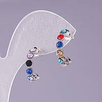 Серьги кольца с разноцветными стразами ассорти d-17мм