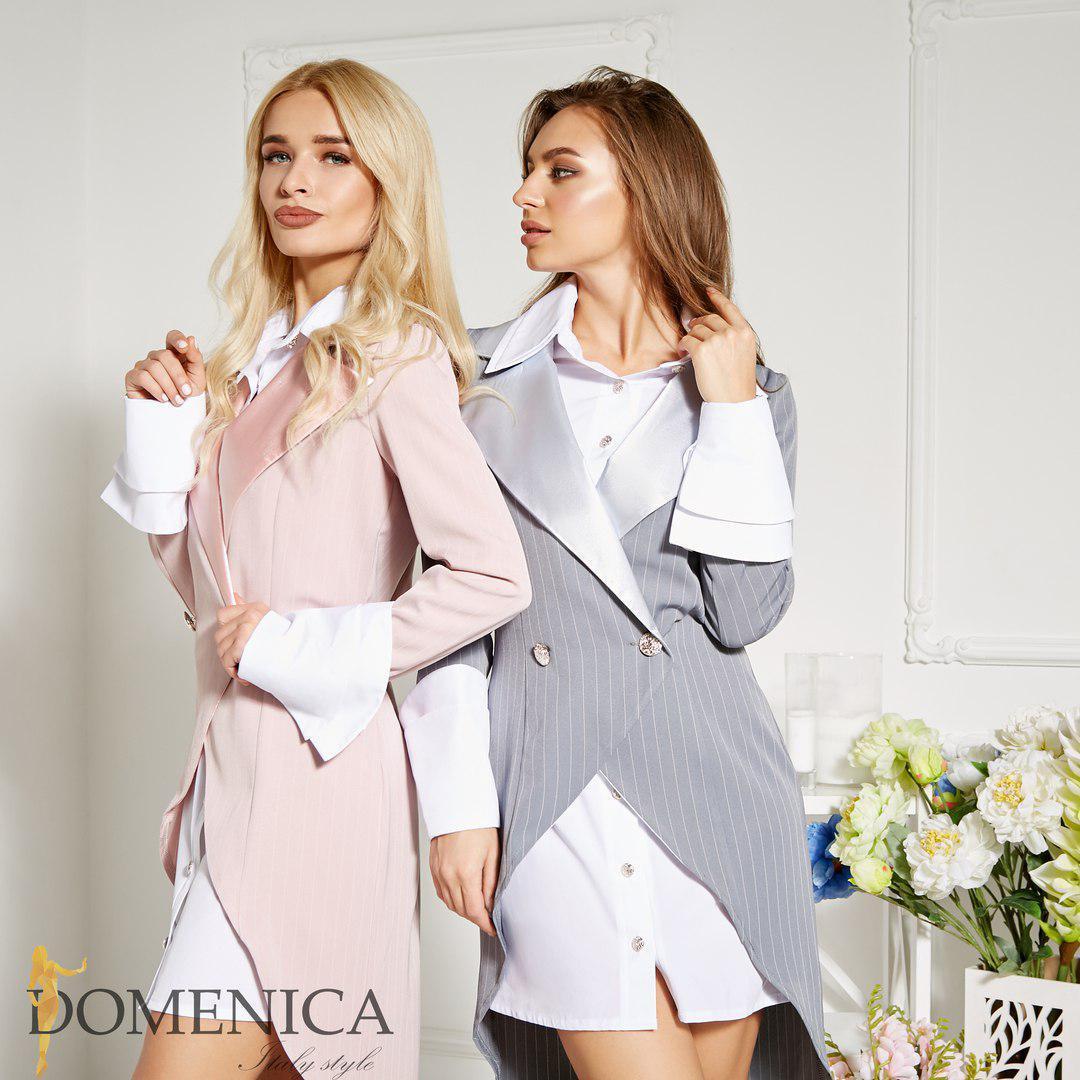 f2227abdb2a Женский костюм платье с двубортным пиджаком F-38703 - Интернет - магазин