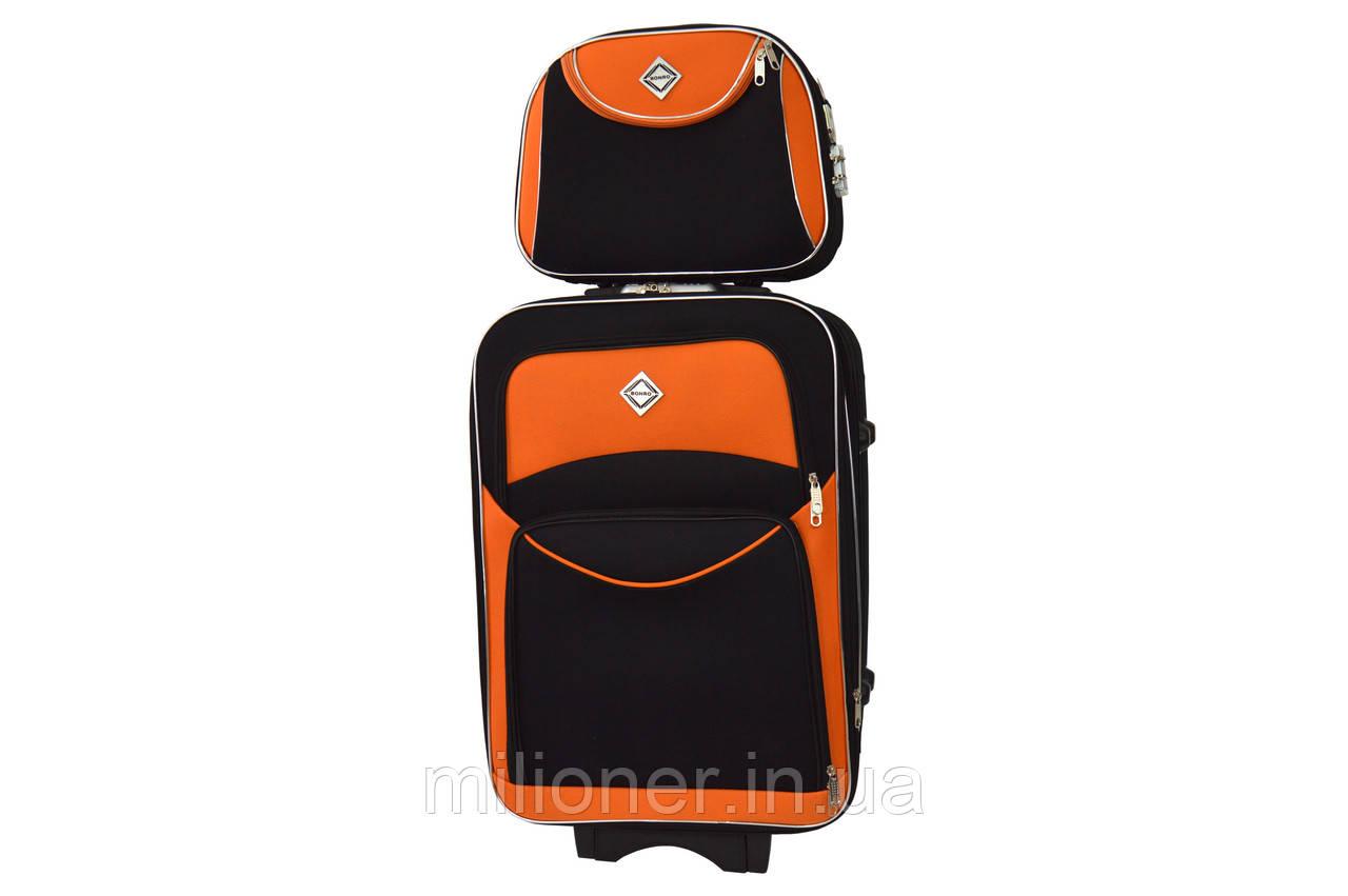 Комплект чемодан + кейс Bonro Style (небольшой) черно-оранжевый