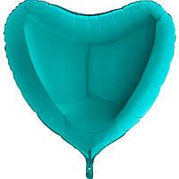 Фольгированное сердце без рисунка, большое,  тиффани.