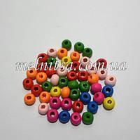 Бусины деревянные, 7 х 5 мм, 50 шт., цвет микс