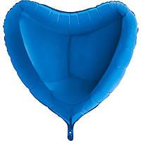 Фольгированное сердце без рисунка, большое, синий.