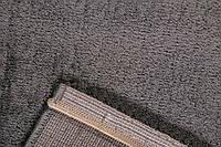 Шикарный тонкий велюровый однотонный темно серый ковер