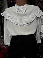 """Детская шифоновая блузка """"Бант с рюшей"""" (122-152р)"""