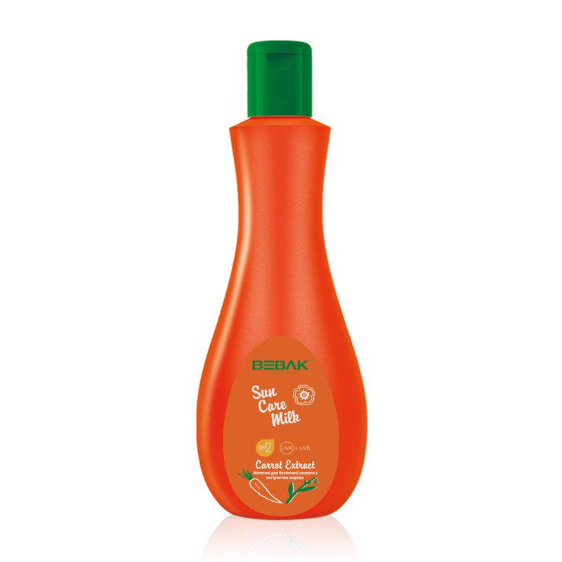 Молочко для безпечної засмаги Sora Cosmetics Bebak з екстрактом моркви SPF 2 60 мл (4315002)