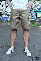 Мужские светлые летние шорты/бриджи/капри карго с карманами по бокам без бренда