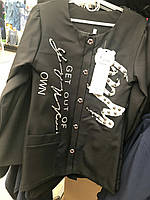 Черный стильный пиджак для девочек в школу, рост 134-152 см., 380/350 (цена за 1 шт. + 30 гр.)