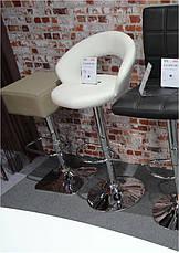 Барный стул BCR-103 белый кожзам, хромированный металл, фото 3
