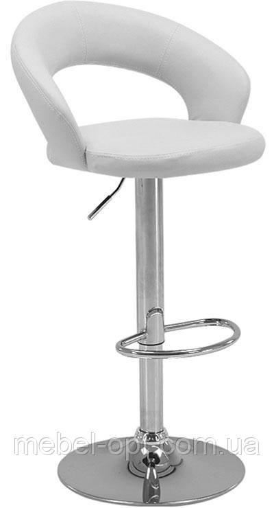 Барный стул BCR-103 белый кожзам, хромированный металл